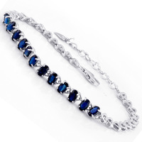 Flammable volcano natural sapphire bracelet 925 sterling silver inlaid precious stones natural sapphire 12