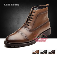 Nice!! 3 Color TOP QUALITY genuine leather men's fashion boots ankle high dress casual shoes for men size 38-43