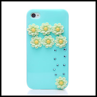 Colorful case with flower for iphone 4 4s    cases for  iphone 5 5s moblie phone  shell free ship