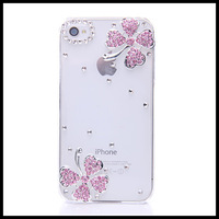 Pink leaves  case for iphone 4 4s  transparent cases for  iphone 5 5s moblie phone  shell free ship