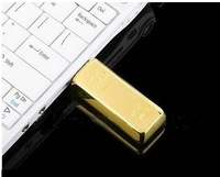 gold bar shape USB 2.0 U disk 16gb 32gb 64gb flash drive thumbdrive+ free shipping