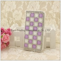 The square diamonds long wallet dirt-resistant leather case for iphone 4 4S~1pcs/lot