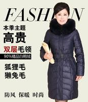 women's Monther Winter Coat Jacket big fox & rex rabbit fur collar hoodies Black thick middle-aged plus size XXL 3XL 4XL WS2104