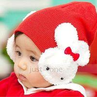 Cute Baby Lovely Kids Girls Boys Ear Flap Warm Crochet Cap Hat Beanie Rabbit Red
