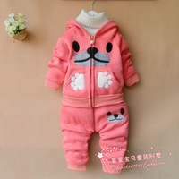 Infant children's clothing female child autumn 2013 1 - 2 - 3 autumn clothes fleece set
