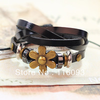 casual metal petal charm leather strap beads bracelet