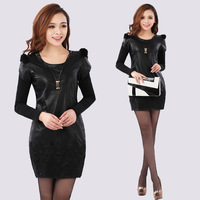 2013 Spring Basic Long-Sleeve Dress Double-Shoulder O-Neck Lace Decoration Pu One-Piece Dress