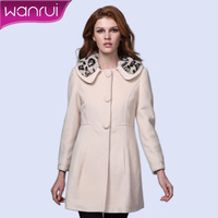 Woolen outerwear women's 2013 rex rabbit hair woolen women's turn-down collar wool coat outerwear