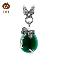 Free shipping Pure thai silver green agate stone 925 pure silver necklace silver jewelry pendant female 11  necklaces & pendants