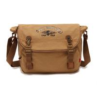 2014 New Vintage Preppy Style Khaki Color Canvas Shoulder Bag For Men And Women Motorcycle Messenger Bag Travel Bag Satchel Bags