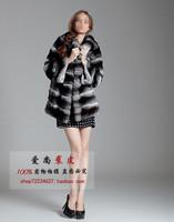 2013 high quality rex rabbit fur with plush bunny collar  chinchilla looking medium-long fur coat