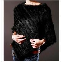 Wholesale  SALE 2013 Rabbit Fur Shawl Women Hot Style  Natural Rabbit Fur Poncho 12 color  wc128