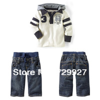 Hot Retail Boy's Clothing Set Boys 2-Piece Sports Suits Sets Baby Kids Casual Long Sleeved Hoody Jacket+ Pants Freeshipping