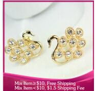 B237 fashion Noble swan gold rhinestone Hollow Women jewelry earrings