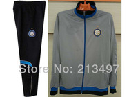 men's football jacket inter milan soccer jersey set grey color H8113+965