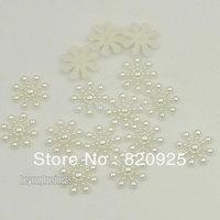 200 X Pearly White Snowflake Flatback Wedding Scrapbooking Embellishments Craft