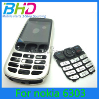 For Nokia 6303 Full Housing Cover Case with original Keypad by china post shipping silver color