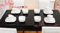 lOT OF 16PCS Dollhouse Miniature Pure White porcelain Square Dish Cup