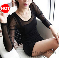 2013 Hot sale Autumn and winter Plus size sexy slim lace long-sleeve slim basic Skirt dress