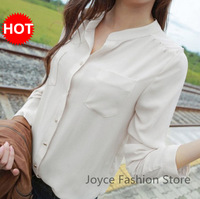 2013 Autumn and winter Hot-selling stand collar female long-sleeve chiffon shirt pocket casual plus size sunscreen shirt tops