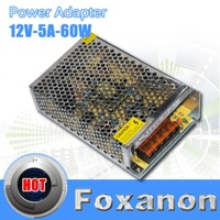 Foxanon Brand  LED Driver Switching Power Supply Adapter Power Adapter 110V-220V to 12V Transformer 5A 60W For led strip display