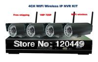 Free shipping 4CH NVR Kit + 4pcs 720P H.264 bullet wireless wifi IP Camera, wireless nvr system kit