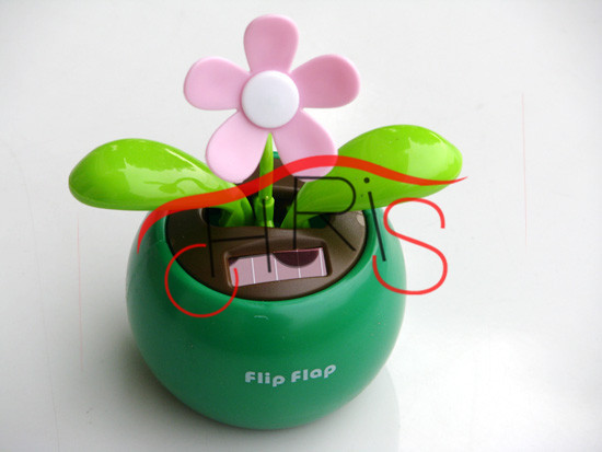 High Quality Flip Flap Solar Power Apple Flower Plant/car decoration/dancing/Unique Toys Free shipping(China (Mainland))