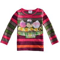F2028# 12m/5y NOVA kids wear girl clothing printed ice cream striped fashion long sleeve T-shirts for baby girls