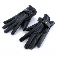 Mens Black Soft Leather Gloves Mittens Riding Sports Cycle Gloves Sports Skating Free DropShipping