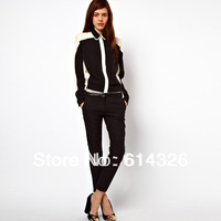 Women Shirt 2014 Spring Autumn New Fashion Color Block Double Collar Long-sleeve Blouse Women Chiffon Tops SX-9110