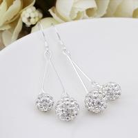 Silver Plated New Shamballa Drops Earrings Shambala Beads Jewelry E159