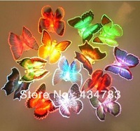 (48 pieces/lot) Free shipping electronic butterfly decorations colorful LED light room bar KTV ornaments
