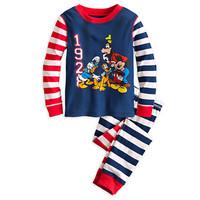 6Sets/Lot Baby Boys mickey Striped Pyjamas suits Toddler kids pajamas sleepwear  cotton  pajamas for boy hot Selling
