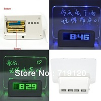 Hot Selling 2014 New Colorised LED Light Message Board Calendar Thermometer lazybones Digital Alarm Clock Free Shipping 670356