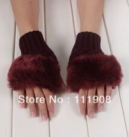 New Arrival imitation cony hair knitted mitten as gift lady half fingerless gloves spring winter keep warm typing mitt series
