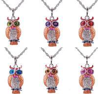 Vintage Owl Necklaces 6 Color-Mix Crystal Rhinestone owl pendant Necklace women necklaces  12pcs/lot
