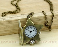 20PCS/LOT Top Quality Retro pocket watch girl women Lucky STAR necklace watch