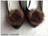 5 Pairs Fashon Round Mink Fur Rose shape bows Free Shipping