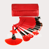 New Professional 24pcs/lot red Makeup Brush Set tools Make-up Toiletry Kit Wool Brand Make Up Brush Set tools free shipping