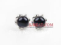 Girls Jewelry Lovely Fashion Style 9-10mm Natural Black Freshwater Pearl Studs Earrings with Flower Shape Accessories