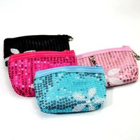 (Minimum order $5,can mix) Pretty Sparkle Sequin Flower Coin Bag Purse Case Wallet Pouch HY27125
