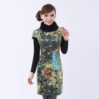 2103 cheongsam vintage winter fashion slim lace short qipao thermal cotton-padded