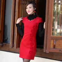 Isn't don served short-sleeve bride cheongsam married cheongsam red black evening dress bridal wear