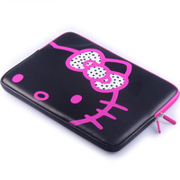 Free shipping, Hot sale 2014 New design hello kitty laptop sleeve case PU leather notebook computer bags Women's Tablet PC bag