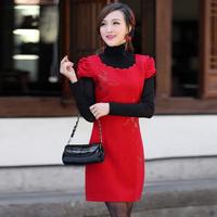 Isn't don served short-sleeve bride cheongsam married cheongsam red evening dress bridal wear