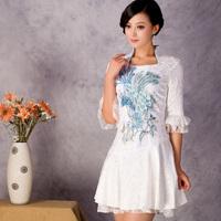 Isn't don served autumn new arrival 2013 cheongsam half sleeve fashion lace cheongsam dress empyrean