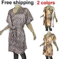 New fashion Sexy sleepwear leopard print bathrobe spaghetti strap sleepwear 2pcs/set sexy lingerie for women free shipping