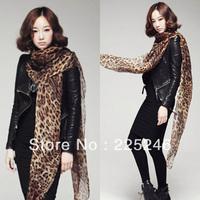 Free Shipping Womens Leopard Long Chiffon Scarf Wraps Shawl Pashmina Stole Neck Scarves DropShipping