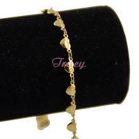 "Womens Girls 18K Yellow Gold Filled Heart W Letter "" Lucky"" Bracelet Bangles Link Chain 7inch Fashion Gift"