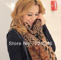 5pcs/lot New Retro Sexy Women Soft Leopard Splicing Dots Wrap Shawl Scarves Chiffon Scarf CY0380BW dropshipping free shipping